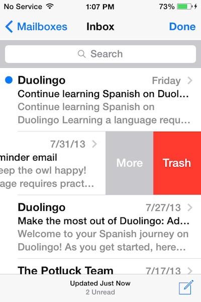 Delete email in iOS 7