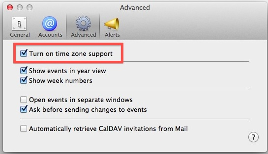 Turn on Time zones in Calendar for Mac OS X