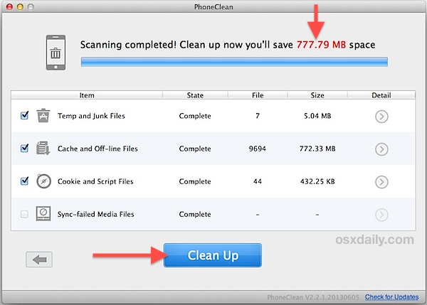 Clean up temporary files on iPhone to free up up some storage space