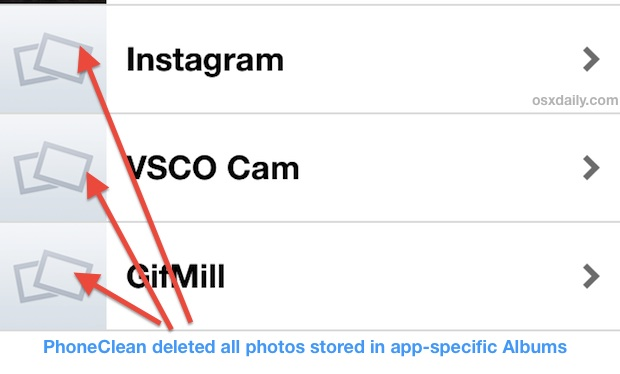 PhoneClean removes app-specific photo albums