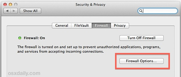 Firewall options allow you to control blocking of connections