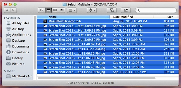 Select a group of files in Mac OS X