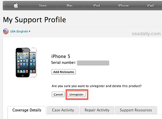 Unregister the iPhone from Apple