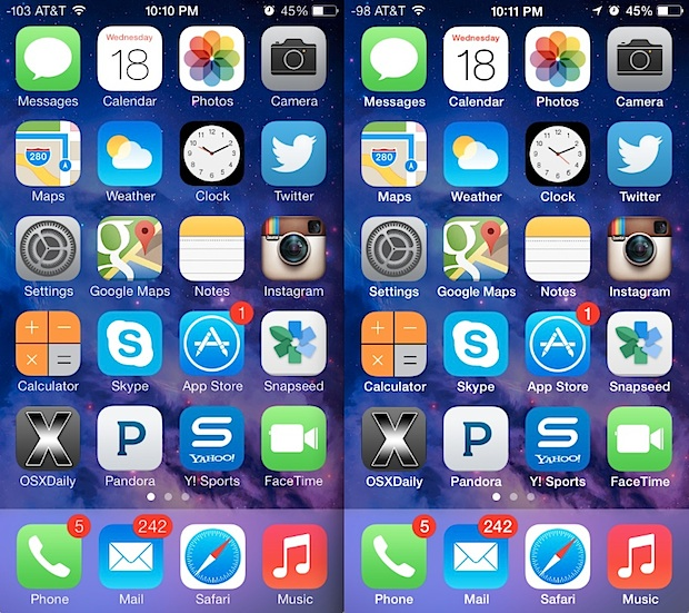 Fonts on it home screen are easier to read after bold text in iOS 7