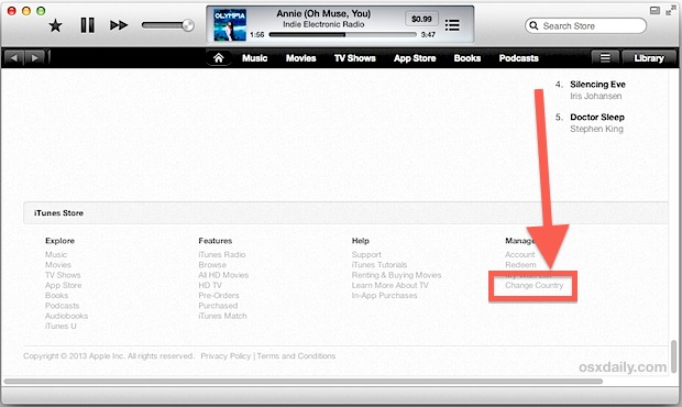 Change country in iTunes