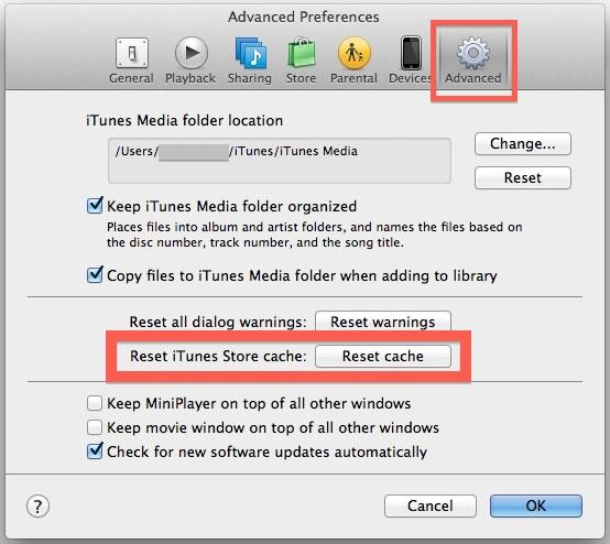 Reset iTunes Store Caches
