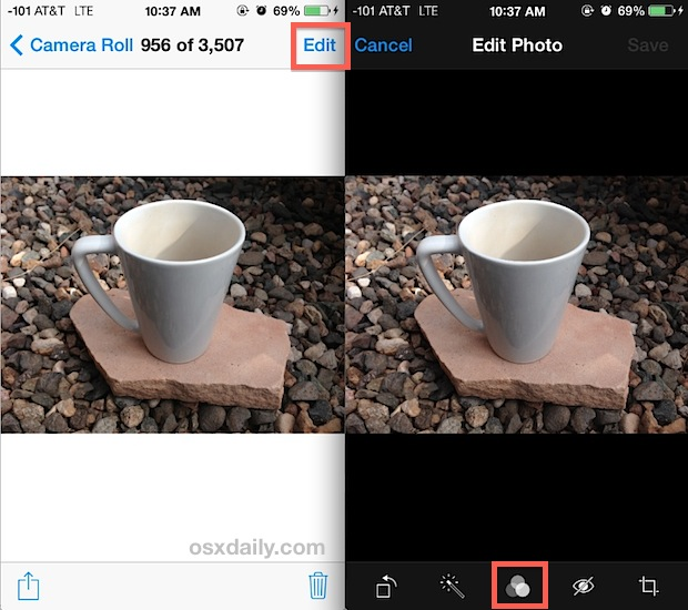 Convert a photo to black and white on iPhone