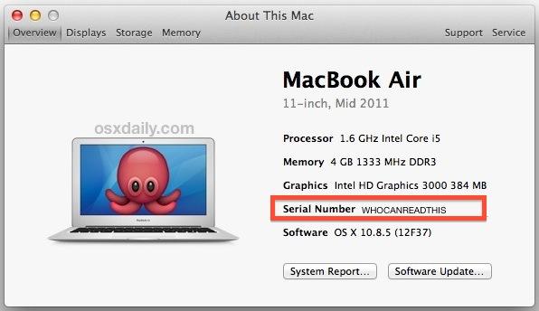 Get a Mac serial number