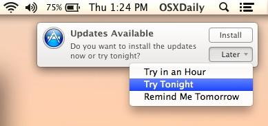 Reschedule for software update installation reminders