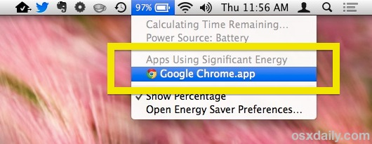 Find apps that consume energy with the menu bar