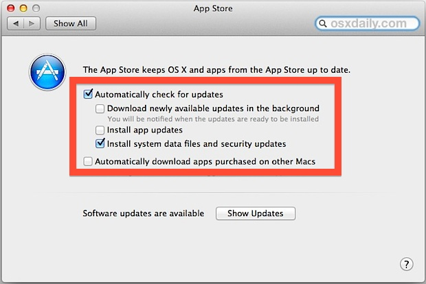 Automatic app and system updates in Mac OS X