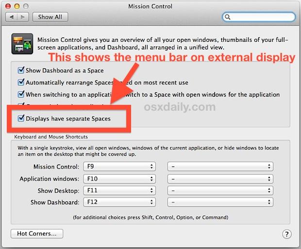 Show the menu bar on external monitors in Mac OS X