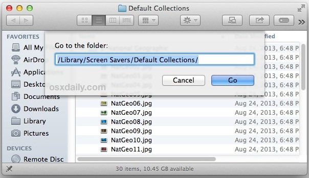 Go to the hidden background folder in Mac OS X