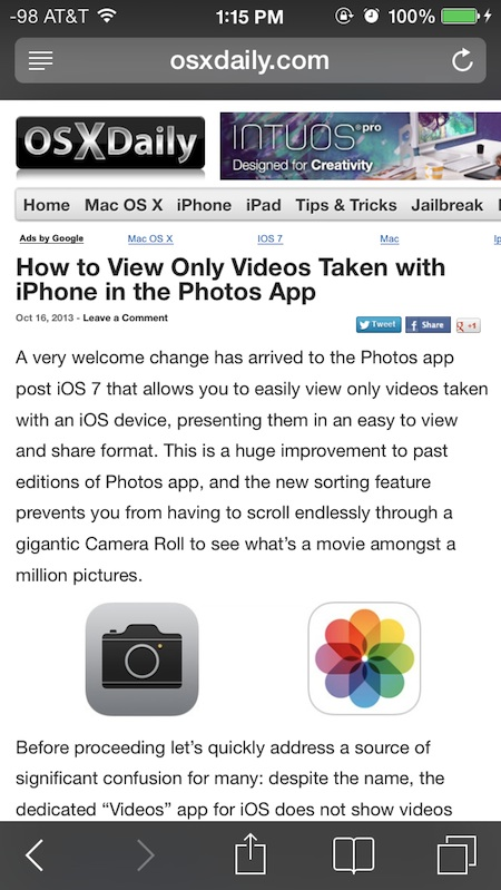 Private Browsing mode enabled in iOS with dark elements
