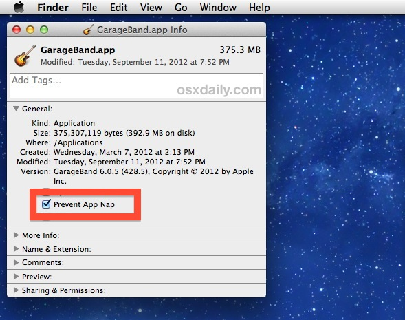 Disable App Nap on a per-application basis in OS X