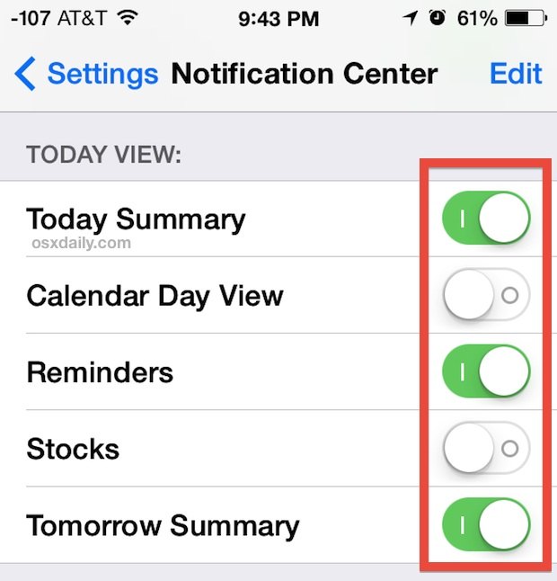 Customize the Today view in Notification Center for iOS