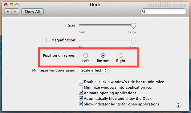 Change the position of the Dock in Mac OS X