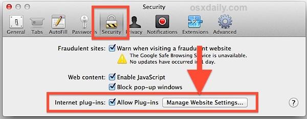 Manage the Flash plugin per website in Safari