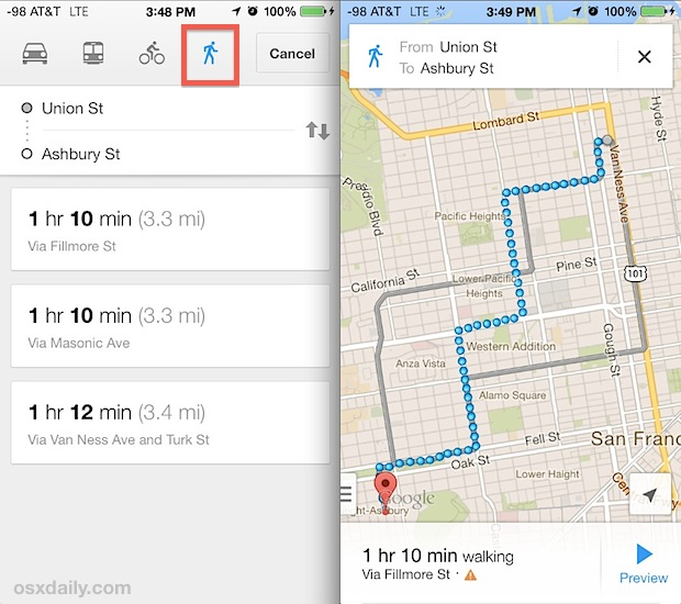 Walking routes in Google Maps