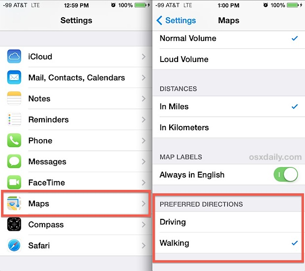 Walk directions on the iPhone