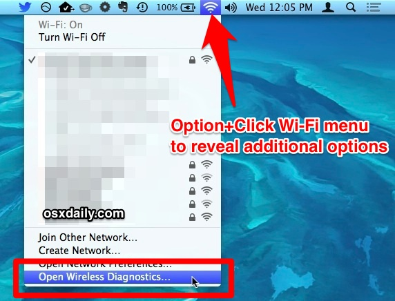 Option-click the Wi-Fi menu to access the Wireless Diagnostics utility in Mac OS X