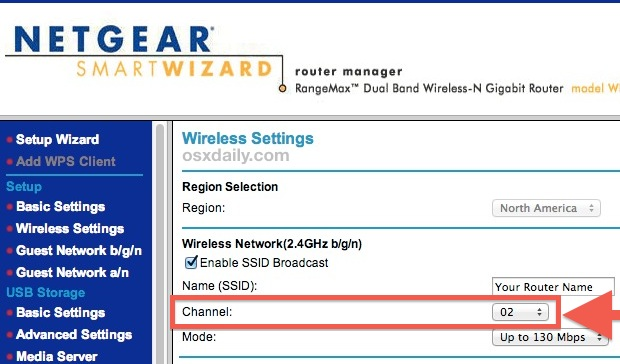 Change Wi-Fi broadcast channel to the best option