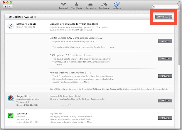 Update all software on the Mac