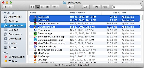 Garageband, iPhoto and iMovie in the Applications folder