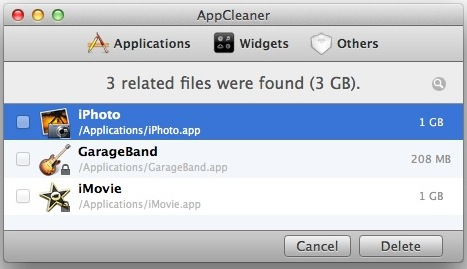 Remove Garageband, iMovie and iPhoto with AppCleaner