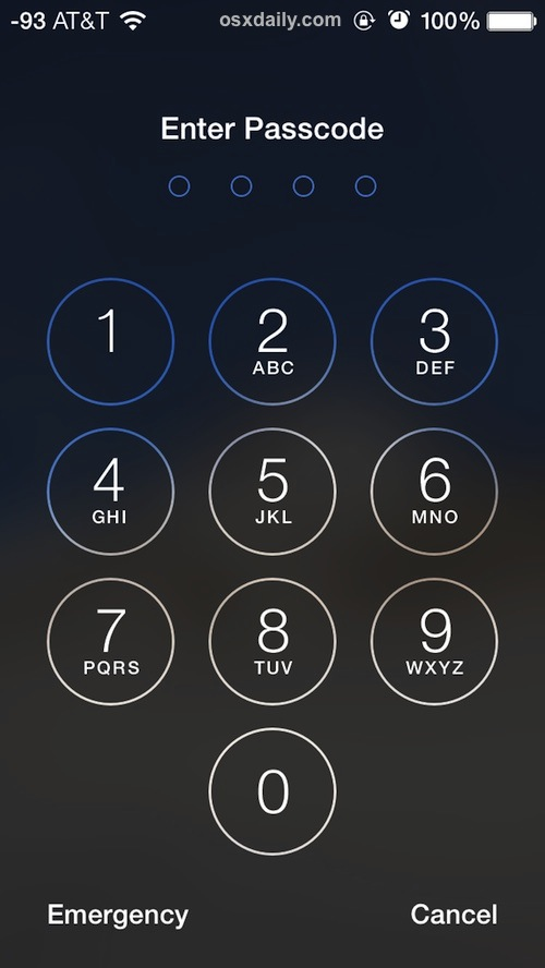 The passcode entry screen on a locked iPhone