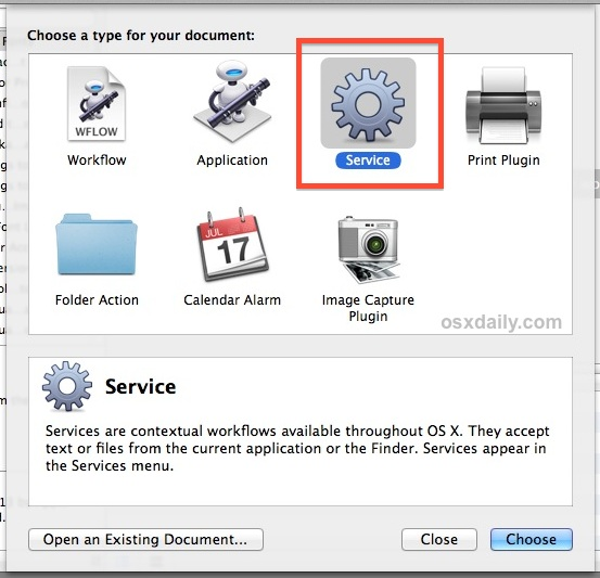 Create an Automator service
