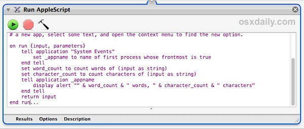 The word script in Automator