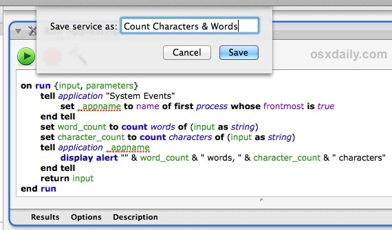 Save service as word and character counter