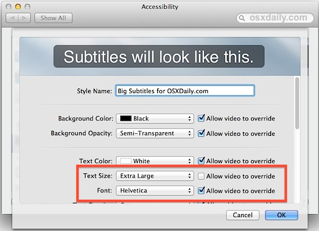 Change font size of subtitles in Mac OS X video