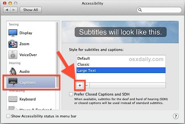 Customize video subtitles in Mac OS X.