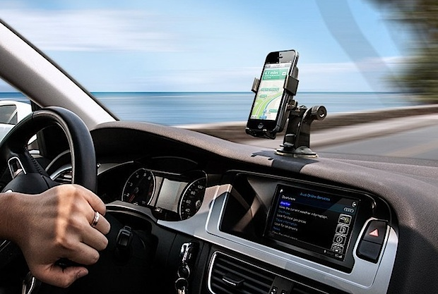 iPhone car dashboard mounted for navigation