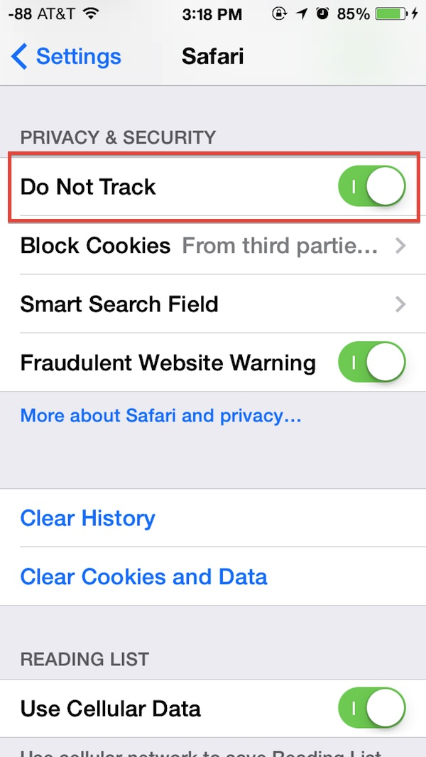 Enable Do Not Track in Safari for iOS