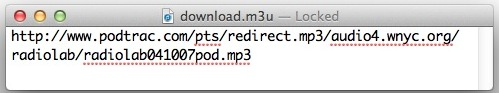 m3u content with an mp3 file