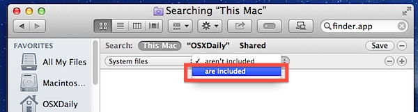 Include system files in Mac OS X searches