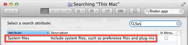 Add system files as a search attribute