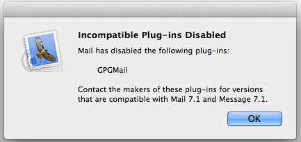 Incompatible email plug-in message