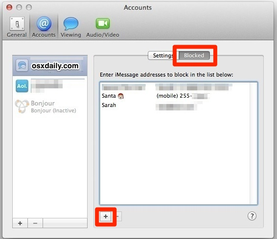 How to    block iMessage senders in Mac OS X