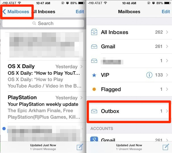 Access unsent messages in the iOS Mail app