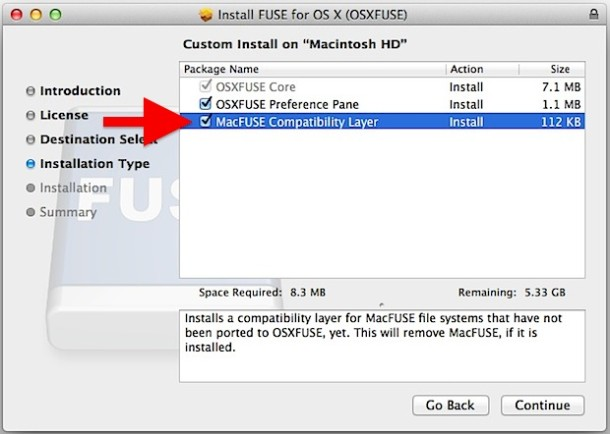Install FUSE EXT support for Mac OS X