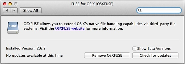 OS X FUSE EXT support for Mac system preference pane