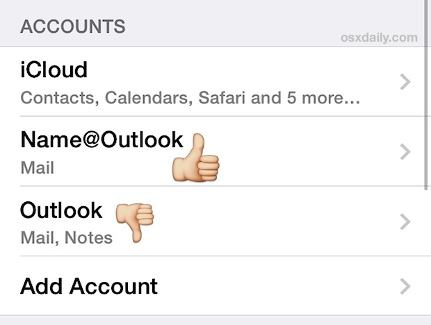 Rename an email account in iOS