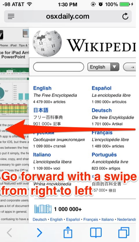 Move forward with a right-to-left swipe in Safari for iOS