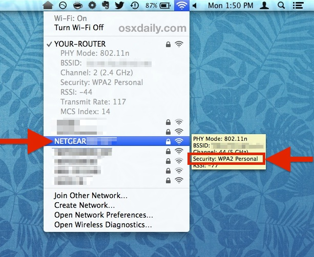Check the security protocol of other Mac OS X Wi-Fi networks