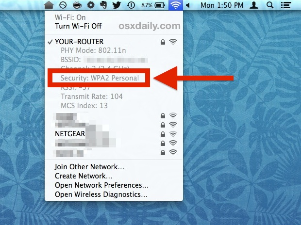 See Wi-Fi security Encryption type of connected router from Mac OS X