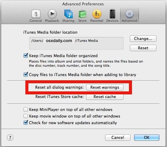 Reset dialog alerts in iTunes
